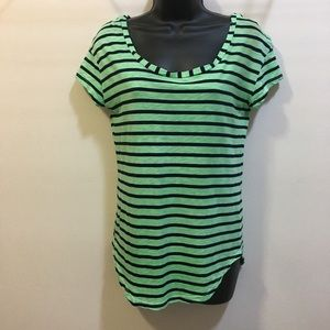 Splendid XS green and navy stripe t-shirt